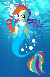 Size: 2335x3607 | Tagged: safe, artist:iamsheila, artist:liaaqila, rainbow dash, mermaid, equestria girls, my little pony: the movie, bubble, digital art, digitalized, female, fin wings, fins, gift art, looking at you, looking back, looking back at you, mermaidized, ocean, real life background, smiling, solo, species swap, underwater, wings