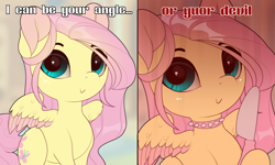 Size: 1300x780 | Tagged: safe, artist:evehly, fluttershy, pegasus, pony, 2 panel comic, :>, angel, butter knife, c:, choker, chokershy, colored wings, colored wingtips, comic, cute, devil, edgy as fuck, evehly is trying to murder us, female, hoof hold, intentional spelling error, knife, looking at you, meme, misspelling, ponified meme, rouge angles of satin, shyabetes, smiling, solo, spiked choker, spread wings, text, two toned wings, wing fluff, wings