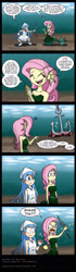 Size: 950x3407 | Tagged: safe, artist:niban-destikim, fluttershy, mermaid, equestria girls, anchor, angry, bubble, clothes, comic, commission, crossover, crushed, dialogue, dress, drill, duo, duo female, earfins, eyes closed, female, flower, frown, grabbing, hypocritical humor, ika musume, mermaidized, ocean, open mouth, pointing, revenge, smiling, species swap, speech bubble, squid girl, this will end in death, this will end in tears, this will end in tears and/or death, underwater, wide eyes