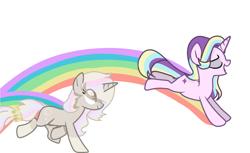 Size: 1734x1063 | Tagged: safe, artist:memengla, oc, oc:memengla, pony, unicorn, base used, chest fluff, open mouth, rainbow, simple background, white background