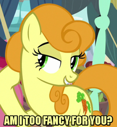 Size: 450x490 | Tagged: safe, edit, edited screencap, editor:jaredking203, screencap, carrot top, golden harvest, earth pony, pony, it isn't the mane thing about you, caption, cropped, female, image macro, lidded eyes, mare, meme, text