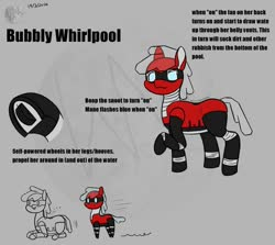 Size: 1117x995 | Tagged: safe, alternate version, artist:wyntermoon, oc, oc:bubbly whirlpool, earth pony, object pony, original species, pony, robot, robot pony, female, i can't believe it's not badumsquish, mare, mechanical pony, ponified, reference sheet, transparent mane, underhoof, vacuum cleaner, wheel