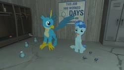 Size: 1280x720 | Tagged: safe, artist:horsesplease, gallus, party favor, bird, blue jay, 3d, blue, doggie favor, gmod, sitting