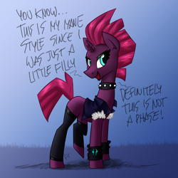 Size: 3000x3000 | Tagged: safe, artist:elite-bean-dip, artist:flutterthrash, derpibooru exclusive, edit, tempest shadow, pony, unicorn, adult blank flank, broken horn, choker, clothes, dialogue, exclamation point, eye scar, female, grammar error, horn, it's not a phase, mare, metal, scar, smiling, solo, spiked choker, storm king's emblem, talking to viewer, wristband