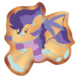 Size: 2100x2100 | Tagged: safe, artist:showtimeandcoal, oc, oc only, oc:sundae flare, bat pony, pony, chibi, clothes, commission, cookie, cute, food, frosting, icon, scarf, simple background, solo, transparent background, ych result