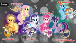 Size: 1024x576 | Tagged: safe, applejack, fluttershy, pinkie pie, rainbow dash, rarity, twilight sparkle, earth pony, mouse, pegasus, pony, unicorn, apple, applemouse, arrow, blushing, bow (weapon), bow and arrow, clapping, cupid, duality, eyes closed, fluttermouse, food, hidden eyes, mane six, marshmallow, mousified, pinkie mouse, present, rainbow mouse, rarimouse, rarity is a marshmallow, sitting, species swap, transformice, twimouse, unicorn twilight, weapon