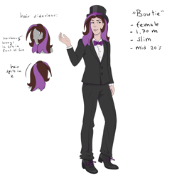 Size: 2449x2528 | Tagged: safe, artist:thebowtieone, oc, oc:bowtie, human, clothes, female, hat, human female, humanized, reference sheet, shoes, simple background, solo, suit, top hat, white background