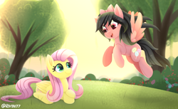 Size: 3600x2200 | Tagged: safe, artist:rivin177, fluttershy, oc, oc:anelynam, pegasus, pony, bow, duo, female, flying, folded wings, grass, hair bow, looking at each other, mare, open mouth, outdoors, prone, smiling, spread wings, tree, wings