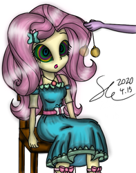 Size: 567x720 | Tagged: safe, artist:starflashing twinkle, fluttershy, butterfly, equestria girls, belt, chair, clothes, dress, eye, eyes, hairpin, hand, hypnosis, implied sci-twi, pendulum swing, pocket watch, simple background, sitting, swirly eyes, white background