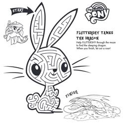 Size: 793x791 | Tagged: safe, angel bunny, basil, fluttershy, dragon, pegasus, pony, rabbit, animal, bringhomethefun, female, male, mare, maze, misleading thumbnail, monochrome, my little pony logo