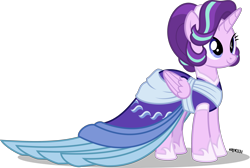 Size: 4000x2683 | Tagged: safe, artist:orin331, starlight glimmer, alicorn, pony, alicornified, clothes, coronation dress, dress, female, mare, race swap, simple background, smiling, solo, starlicorn, transparent background, xk-class end-of-the-world scenario