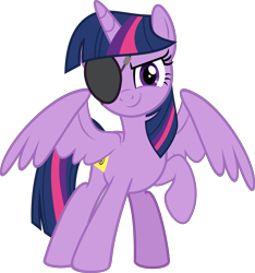 Size: 5348x5703 | Tagged: safe, artist:jhayarr23, twilight sparkle, alicorn, pony, friendship university, disguise, eyepatch, eyepatch (disguise), female, looking at you, mare, raised hoof, simple background, smiling, solo, spread wings, transparent background, twilight sparkle (alicorn), vector, wings