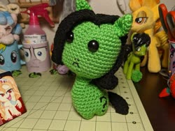 Size: 1249x937   Tagged: safe, artist:tinyequine, oc, oc:filly anon, :c, :i, crochet, female, filly, frown, i mean i see, plushie