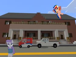 Size: 2048x1536 | Tagged: safe, artist:jhayarr23, artist:nano23823, artist:topsangtheman, maud pie, oc, oc:pearl shine, earth pony, pegasus, pony, ford, ford f-150, house, looking at you, mail truck, minecraft, nation ponies, philippines, photoshopped into minecraft