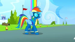 Size: 1280x720 | Tagged: safe, screencap, rainbow dash, pegasus, pony, newbie dash, clothes, female, goggles, imminent disaster, mare, rainbow waterfall, solo, suit, uniform, wonderbolts, wonderbolts uniform