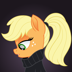 Size: 1500x1500 | Tagged: safe, artist:cloudyglow, applejack, earth pony, pony, bust, clothes, female, freckles, gradient background, mare, movie accurate, scrunchy face, solo, sweater, taylor swift, turtleneck