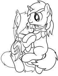 Size: 2066x2719 | Tagged: safe, artist:djdavid98, derpibooru exclusive, oc, oc only, oc:lunar-rose, oc:shining silverdiamond, bat pony, pony, unicorn, clothes, commission, fangs, holding hooves, lineart, looking at each other, monochrome, nuzzling, scarf, side, simple background, snuggling, socks, top down, white background