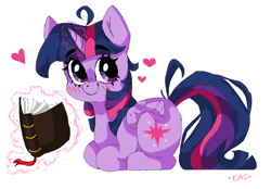 Size: 1374x955 | Tagged: safe, artist:madkadd, twilight sparkle, alicorn, pony, blushing, book, cute, cutie mark, female, glowing horn, heart, horn, looking at you, magic, mare, ms paint, ponyloaf, simple background, smiling, solo, telekinesis, twiabetes, twilight sparkle (alicorn), white background
