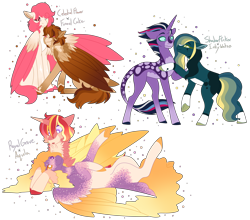 Size: 5000x4407   Tagged: safe, artist:nobleclay, oc, oc only, oc:aquila, oc:celestial flower, oc:funnel cake, oc:inky waters, oc:royal grove, oc:shadow flicker, pegasus, pony, unicorn, absurd resolution, female, kissing, magical lesbian spawn, male, mare, offspring, on back, parent:cheese sandwich, parent:pinkie pie, parent:princess cadance, parent:sunburst, parent:tempest shadow, parent:twilight sparkle, parents:cheesepie, parents:sundence, parents:tempestlight, shipping, simple background, stallion, transparent background, two toned wings, wings