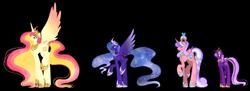 Size: 3454x1257 | Tagged: safe, artist:theponygaming, princess cadance, princess celestia, princess luna, twilight sparkle, pony, alicorn tetrarchy, alternate design, simple background, transparent background, twilight sparkle (alicorn)