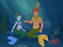 Size: 820x620 | Tagged: safe, artist:azaleasdolls, editor:jdueler11, cattail, ms. vine, mermaid, merman, catvine, female, male, mermaid maker, mermaidized, mermanized, shipping, species swap, straight, underwater