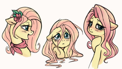 Size: 848x483 | Tagged: safe, artist:hippykat13, artist:sorcerushorserus, color edit, edit, editor:hippykat13, fluttershy, pegasus, pony, ascot, blushing, bust, colored, cute, female, floppy ears, flower, flower in hair, full face view, lineart, looking back, mare, profile, puppy dog eyes, shyabetes, simple background, solo, stray strand, three quarter view, white background