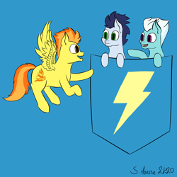 Size: 1500x1500 | Tagged: safe, artist:shoophoerse, fleetfoot, soarin', spitfire, pegasus, pony, cute, flying, pocket, pocket ponies, shirt pocket, signature, simple background, talking, thunderbolt, tiny, tiny ponies, wonderbolts