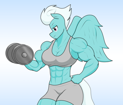 Size: 1738x1484 | Tagged: safe, artist:matchstickman, fleetfoot, anthro, pegasus, abs, biceps, breasts, busty fleetfoot, deltoids, dumbbell (object), female, fleetflex, gradient background, gym clothes, looking sideways, mare, muscles, muscular female, pecs, solo