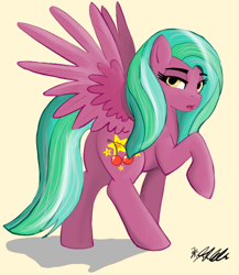 Size: 678x782 | Tagged: safe, artist:rainbowfoxxy, oc, oc only, pegasus, pony, butt, cherry, food, lidded eyes, looking at you, open mouth, plot, raised hoof, simple background, solo, spread wings, white background, wings, yellow eyes