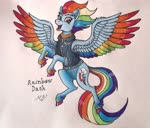 Size: 3373x2876 | Tagged: safe, artist:mesuyoru, rainbow dash, pegasus, pony, the last problem, spoiler:s09, blue coat, colored wings, eyebrows, female, flying, happy, mare, markers, multicolored wings, older, older rainbow dash, rainbow wings, simple background, solo, traditional art, wings