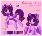 Size: 2941x2480 | Tagged: safe, artist:hikerumin, oc, oc only, demon, demon pony, original species, pegasus, pony, chest fluff, cutie mark, ethereal mane, female, heterochromia, horns, jewelry, looking at you, mare, pendant, reference sheet, starry mane, tongue out