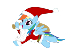 Size: 1975x1436 | Tagged: safe, artist:livehotsun, artist:sketchmcreations, edit, vector edit, rainbow dash, pegasus, pony, beard, christmas, clothes, costume, cute, dashabetes, facial hair, female, flying, happy, hat, holiday, long beard, looking at you, mare, open mouth, sack, santa claus, santa costume, santa hat, santa sack, simple background, smiling, solo, transparent background, vector
