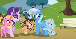 Size: 1280x660 | Tagged: safe, artist:pandastars1109, luster dawn, starlight glimmer, trixie, oc, oc:mystic music, oc:nature light, oc:sky star clouds, changepony, hybrid, unicorn, female, filly, headcanon, interspecies offspring, luster dawn is starlight's and sunburst's daughter, next generation, offspring, parent:pharynx, parent:prince blueblood, parent:starlight glimmer, parent:sunburst, parent:trixie, parents:bluetrix, parents:phartrix, parents:starburst