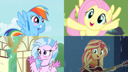Size: 1280x720 | Tagged: safe, screencap, fluttershy, rainbow dash, silverstream, sunset shimmer, equestria girls, equestria girls series, filli vanilli, let it rain, the mysterious mare do well, uprooted, spoiler:eqg series (season 2), acoustic guitar, blushing, cute, dashabetes, diastreamies, female, guitar, musical instrument, rain, shimmerbetes, shyabetes, split screen