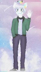 Size: 2300x4000 | Tagged: safe, artist:darkest-lunar-flower, oc, oc:lux(pearle), alien, human, anthro, clothes, floral head wreath, flower, humanized, humanoid, jacket, space, space background, waving