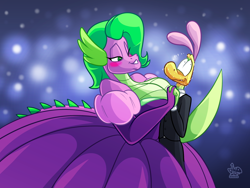 Size: 2000x1500 | Tagged: source needed, useless source url, safe, artist:jamearts, spike, anthro, dragon, barb, barbara greenscale, breasts, busty barb, cleavage, clothes, dress, gown, rule 63