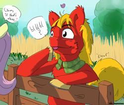 Size: 1100x931 | Tagged: safe, artist:fuzzypones, big macintosh, fluttershy, earth pony, pegasus, pony, alternate hairstyle, dialogue, female, fence, floating heart, fluffy, flustered, fluttermac, heart, male, mare, offscreen character, onomatopoeia, shipping, solo focus, speech bubble, stallion, straight, teenager, tongue out, tongue tied, younger