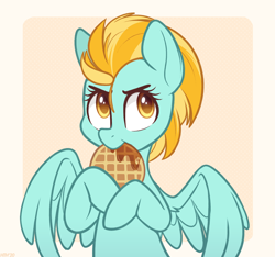 Size: 1600x1500 | Tagged: safe, artist:higgly-chan, lightning dust, pegasus, pony, cute, dustabetes, eating, female, food, mare, nom, solo, spread wings, syrup, waffle, wings