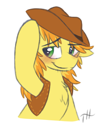 Size: 2750x3250 | Tagged: safe, artist:fakskis, braeburn, earth pony, pony, 45 minute art challenge, blushing, braebetes, bust, chest fluff, clothes, colored sketch, cowboy hat, cute, eyebrows visible through hair, floppy ears, hat, high res, male, simple background, sketch, solo, stallion, tip, vest, white background