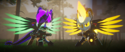 Size: 3840x1620 | Tagged: safe, artist:phoenixtm, oc, oc:delta firedash, oc:phoenix stardash, alicorn, cyborg, dracony, dragon, hybrid, pony, 3d, abandoned, angry, armor, battle stance, energy weapon, spread wings, unity (game engine), weapon, wings