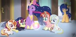 Size: 1280x618   Tagged: safe, artist:kittypaintyt, twilight sparkle, oc, oc:aurora sparkle, oc:luminary, oc:star glow, alicorn, the last problem, base used, jewelry, offspring, older, older twilight, parent:comet tail, parent:fire streak, parent:flash sentry, parent:moondancer, parent:prince blueblood, parent:starlight glimmer, parent:sunburst, parent:sunset shimmer, parent:trixie, parent:twilight sparkle, parents:bluetrix, parents:cometdancer, parents:flashlight, parents:starburst, parents:sunsetstreak, princess twilight 2.0, regalia, twilight sparkle (alicorn)