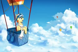 Size: 3000x2025   Tagged: safe, artist:anticular, oc, oc only, oc:easy breezy, pegasus, pony, aviator goggles, aviator hat, clothes, cloud, con mascot, female, freckles, hat, hot air balloon, mare, midair pony fair, scarf, solo