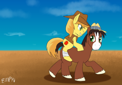 Size: 1000x700 | Tagged: safe, artist:empyu, braeburn, trouble shoes, earth pony, horse, pony, duo, hat, looking at each other, male, ponies riding ponies, pony ride, riding, sky, stallion