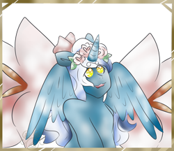 Size: 1280x1108 | Tagged: safe, artist:linkedwolf, oc, oc:fleurbelle, alicorn, alicorn oc, bow, female, flower, flower in hair, hair bow, horn, mare, simple background, transparent background, wingding eyes, wings, yellow eyes