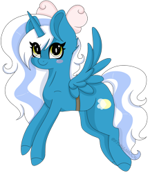 Size: 1280x1392 | Tagged: safe, artist:kireiinaa, oc, oc:fleurbelle, alicorn, adorabelle, alicorn oc, blushing, bow, cute, female, hair bow, horn, mare, simple background, transparent background, wings, yellow eyes