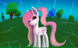 Size: 8000x5000 | Tagged: safe, artist:graphictoxin, oc, oc only, oc:jellybean, pegasus, pony, absurd resolution, blank flank, closed wing, cute, error, female, freckles, glitch, glowing eyes, gradient mane, gradient tail, grass, lightning, looking at you, mare, ponytail, sky, smiling, solo, trade, tree