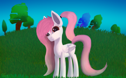 Size: 8000x5000 | Tagged: safe, artist:graphictoxin, oc, oc only, oc:jellybean, pegasus, pony, absurd resolution, blank flank, closed wing, cute, error, female, freckles, glitch, glowing eyes, gradient mane, gradient tail, grass, looking at you, mare, ponytail, sky, smiling, solo, trade, tree