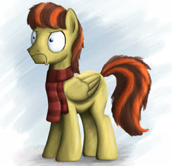 Size: 2143x2062 | Tagged: safe, artist:piemations, oc, oc only, oc:pen, pegasus, pony, :c, clothes, frown, male, painterly, scarf, solo, stallion, striped scarf