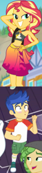 Size: 465x1894   Tagged: safe, edit, screencap, bulk biceps, flash sentry, sandalwood, sunset shimmer, equestria girls, equestria girls series, forgotten friendship, spring breakdown, belly button, bikini, bikini top, blurry background, blushing, building, clothes, comparison, converse, cropped, cute, female, flashimmer, forest background, geode of empathy, hand on hip, jewelry, legs, lidded eyes, magical geodes, male, midriff, necklace, offscreen character, outdoors, pants, pose, sarong, sexy, shimmerbetes, shipping, shipping domino, shirt, shoes, shoulder bag, sky, smiling, socks, straight, sun, swimsuit, wristband