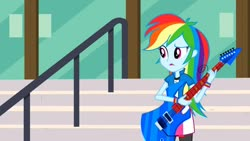 Size: 1280x720 | Tagged: safe, screencap, rainbow dash, equestria girls, friendship games, clothes, compression shorts, guitar, musical instrument, solo, wristband